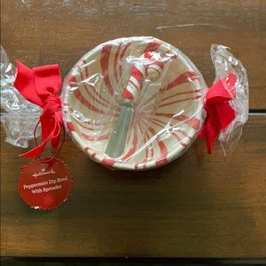 NWT - HOLIDAY PEPPERMINT DIP BOWL & SPREADER